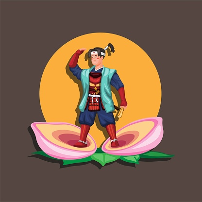 Momotaro is a popular hero of Japanese folklore. His name translates as Peach Taro. figure character illustration vector