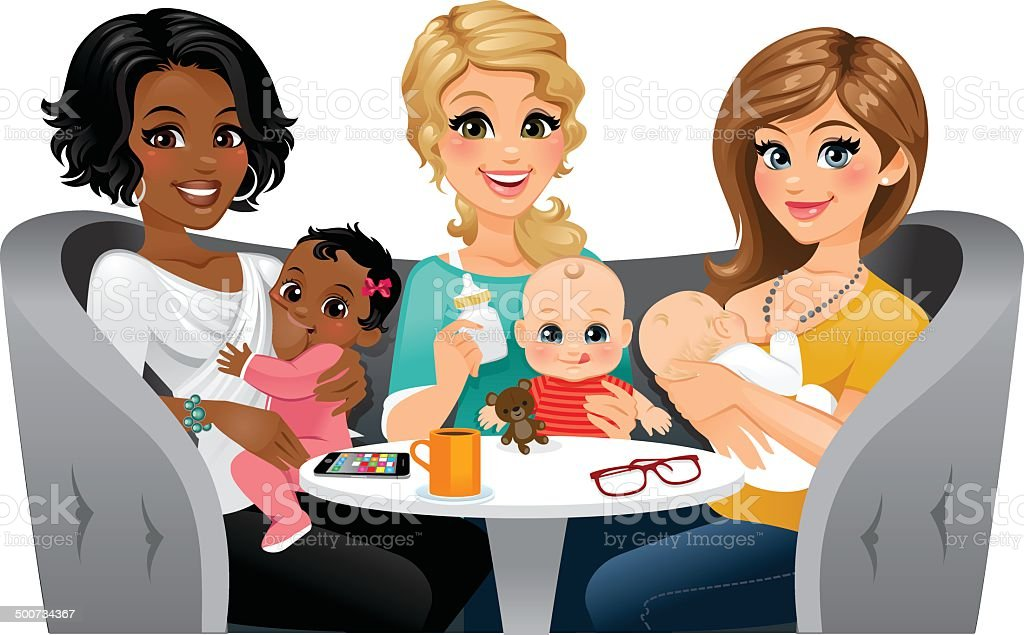 Moms Feeding their Babies A group of moms feeding their babies. One is using a bottle, and two are breastfeeding uncovered. They look like they are in a public setting.  12-17 Months stock vector