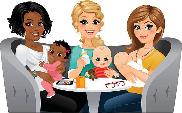 moms feeding their babies - heyheydesigns stock illustrations