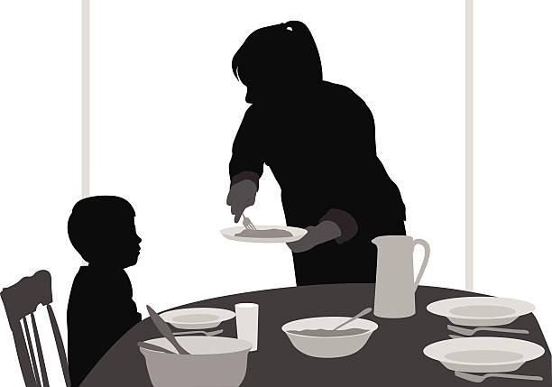 MomServing vector art illustration