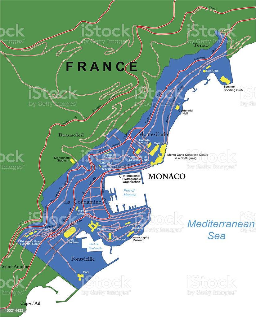 Monaco Italien Karte.Monacokarte Stock Vektor Art Und Mehr Bilder Von Cote D Azur