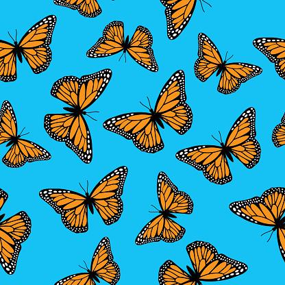 Monarch Butterflies Seamless pattern