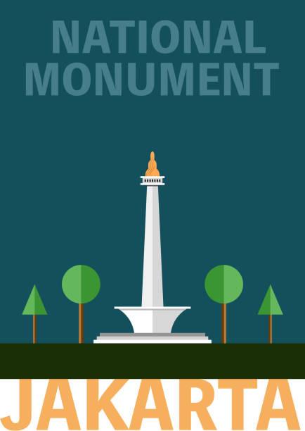인도네시아-모나 그 국립 기념물 - 자카르타 stock illustrations