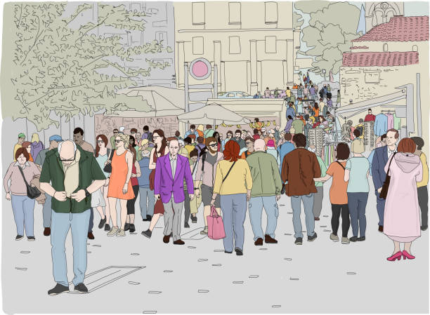 MonastirakiBusy Color Hand drawn vector illustration. A crowd of people walk on a busy day in Monastiraki Square in Athens, Greece. busy stock illustrations