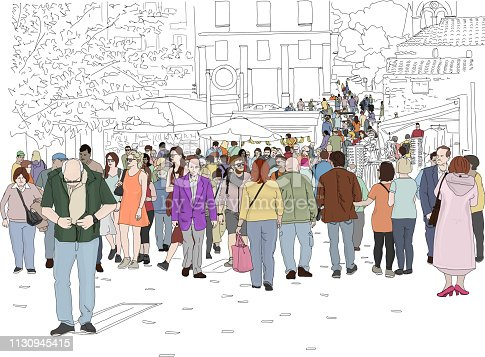 Hand drawn vector illustration. A crowd of people walk on a busy day in Monastiraki Square in Athens, Greece.