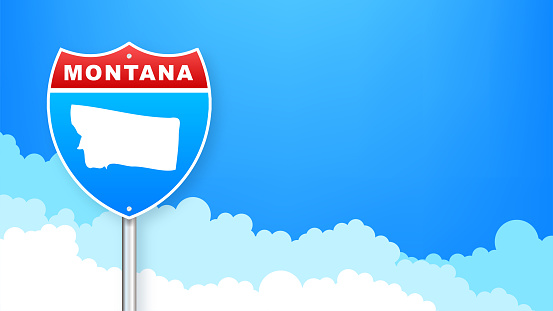 Monatana map on road sign. Welcome to State of Monatana. Vector illustration.