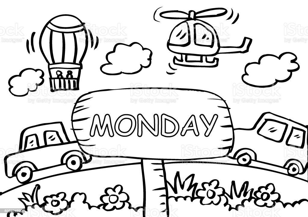 Pazartesi Boyama Sayfası Ile Ulaşım Stok Vektör Sanatı Animasyon
