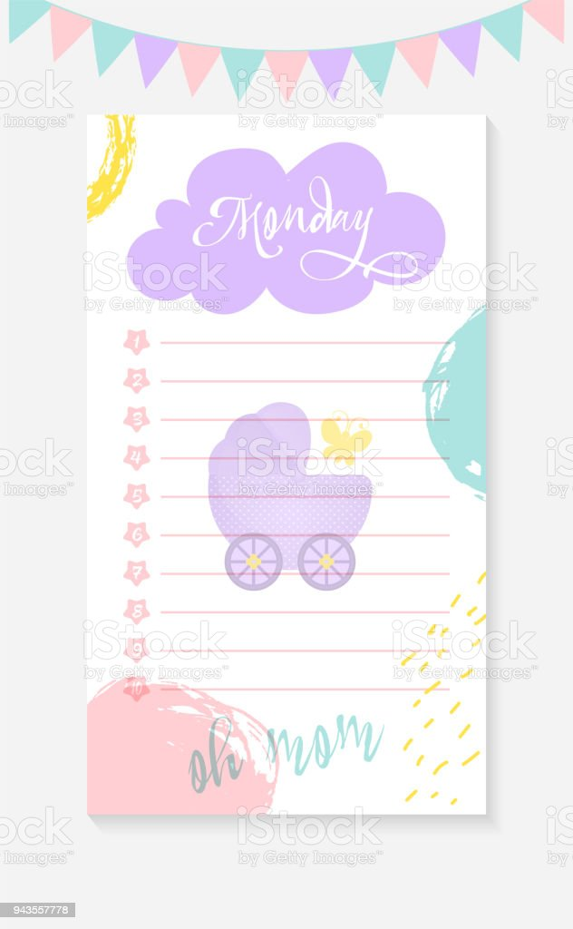 Monday Daily To Do List For A Mother Of A Newborn Kid Stock Vector