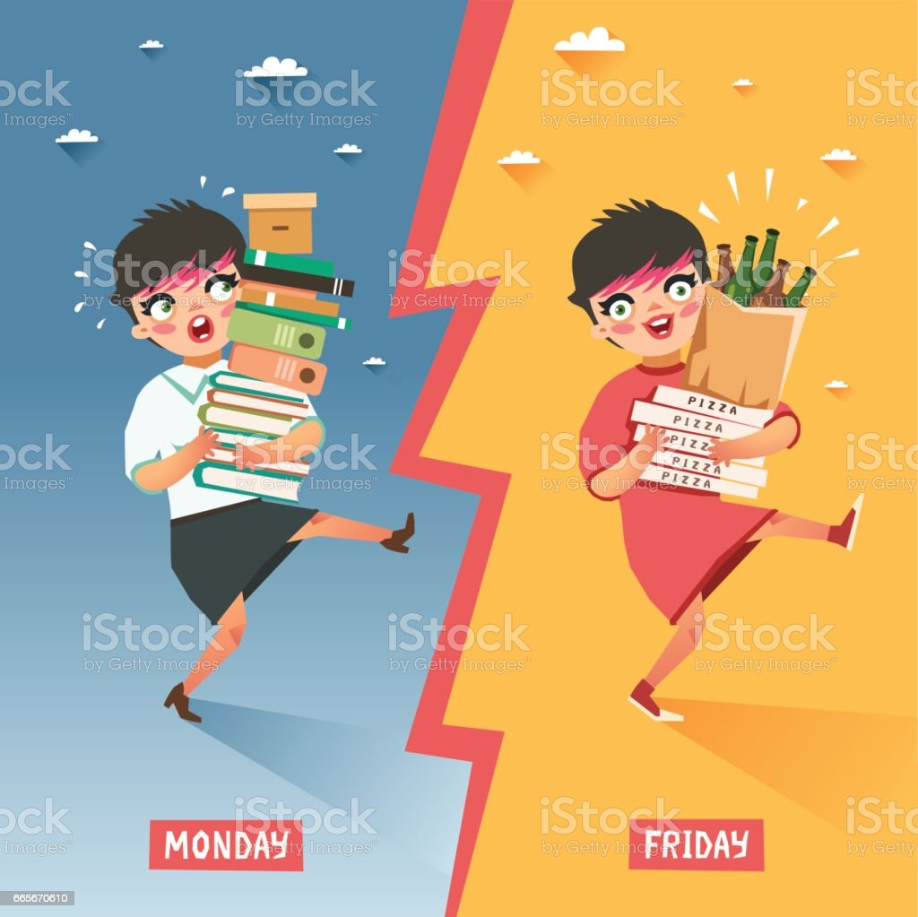 Monday vs Friday concept. Overwhelmed woman with pile of papers and folders VS happy relaxing girl with pile of pizzas and beer bottles vector art illustration