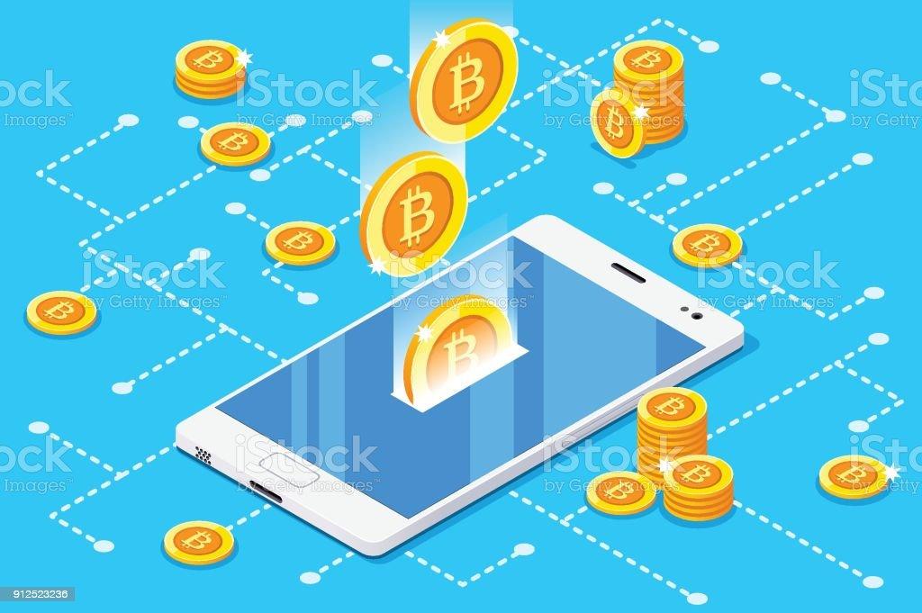 Monetary Business with Bitcoin vector art illustration