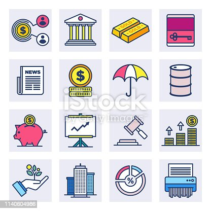 Monetary policy and financial stability outline style concept with symbols. Flat line vector icons set for infographics, mobile and web designs.