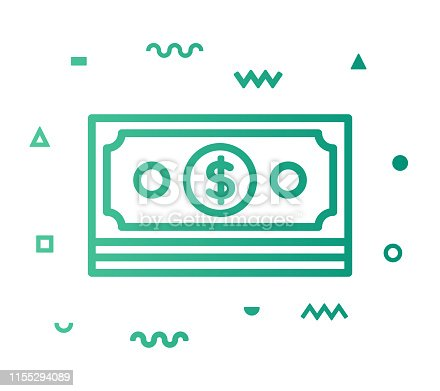 Monetary policy outline style icon design with decorations and gradient color. Line vector icon illustration for modern infographics, mobile designs and web banners.