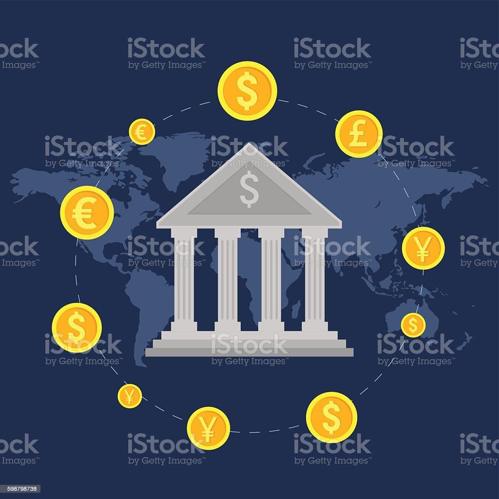 Monetary turn around the bank vector art illustration