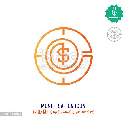 Monetization vector icon illustration for logo, emblem or symbol use. Part of continuous one line minimalistic drawing series. Design elements with editable gradient stroke line.