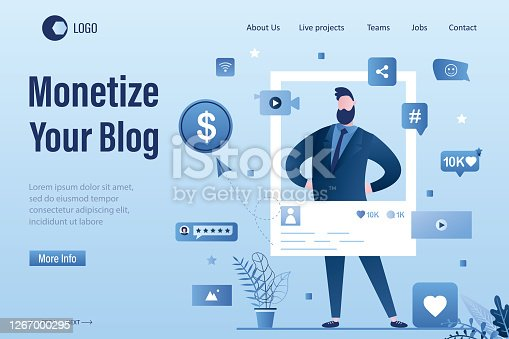 Monetize your blog landing page template. Businessman blogger create video content. Advertising revenue. Male vlogger on workplace. Online business,marketing in social media.Flat Vector illustration