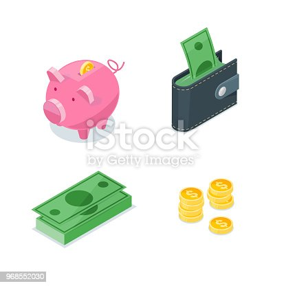 Money 3d isometric style vector icons set. Isolated finance, banking, investment and commerce symbol. Coins, dollars, piggy bank and wallet illustration.
