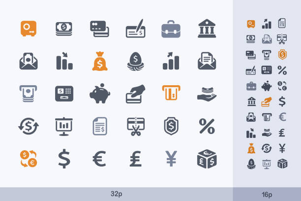 Money _ Banking - Carbon Icons. A set of 30 professional, pixel-aligned icon designed on a 32 x 32 pixel grid. 401k stock illustrations