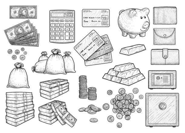 money accessories illustration, drawing, engraving, ink, line art, vector - dollar bill stock illustrations