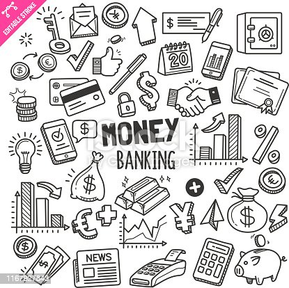 Set of money and banking related objects and elements. Hand drawn doodle illustration collection isolated on white background. Editable stroke/outline.