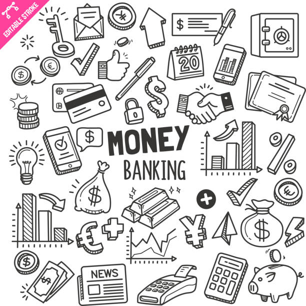 Money and Banking Design elements. Black and White Vector Doodle Illustration Set. Editable Stroke. Set of money and banking related objects and elements. Hand drawn doodle illustration collection isolated on white background. Editable stroke/outline. banking drawings stock illustrations