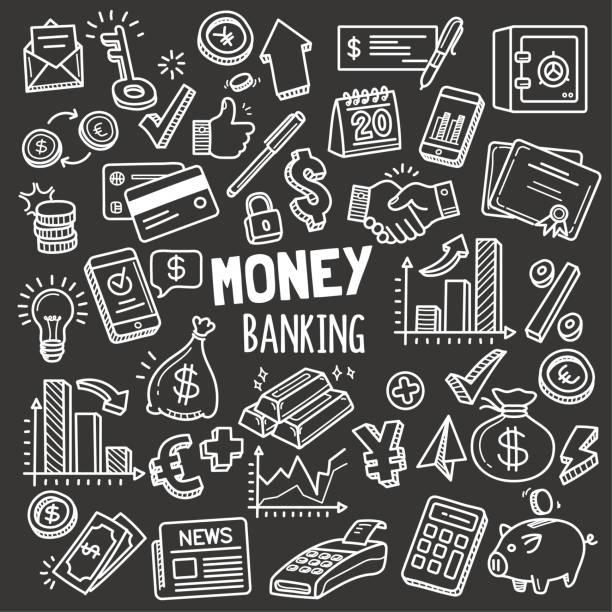 money and banking design elemente. vektor-doodle-illustration set in tafel-kreide-stil. - kreide weiss stock-grafiken, -clipart, -cartoons und -symbole