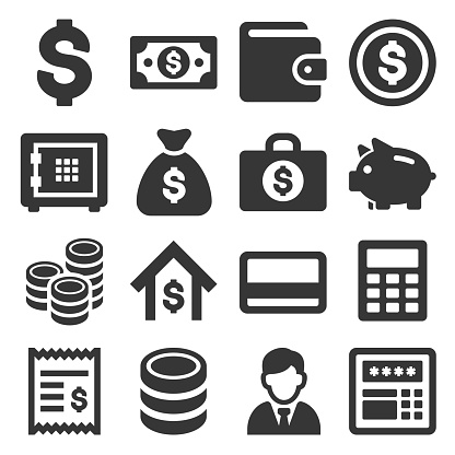 Money and Banking Icon Set. Vector