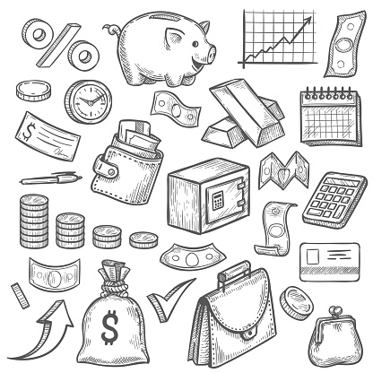 Money and banking sketch. Hand drawn dollar banknote and coin, piggy bank and business chart. Wallet, gold bar finance investment vector set