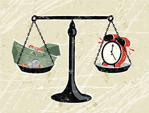 Money and clock on Scales Time is Money! A stylized vector cartoon of stacks of notes and coins  being weighed on scales against a Clock,reminiscent of an old screen print poster and suggesting against the clock, wages, deadlines, comparisons,or hourly rate. Money, clock, scales,paper texture and background are on different layers for easy editing. Please note: clipping paths have been used, an eps version is included without the path. time is money stock illustrations