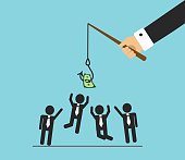 The hand will bite the fishing rod. The hook hangs money and office workers jump, they want to do the work and get money