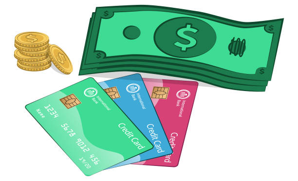 Money and Credit Cards vector art illustration