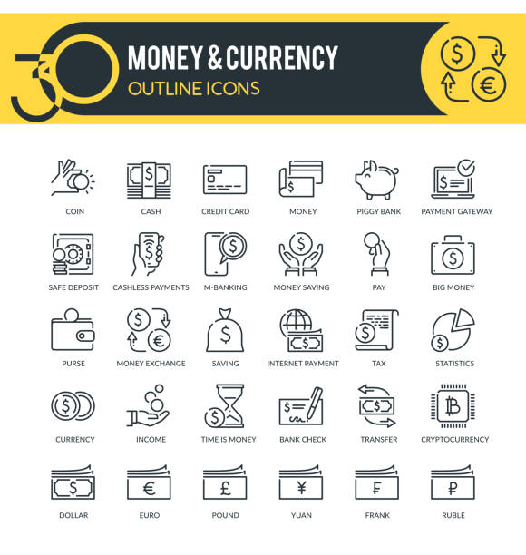 Money and Currency Outline Icons Set of outline icons on following themes – finance, banking, money, currency and other. Each icon neatly designed on pixel perfect 32X32 size grid. Perfect for use in: website, presentation, promotional materials, illustrations, infographics and much more. yuan symbol stock illustrations