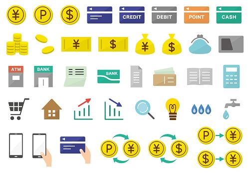 money and economy icons in flat design