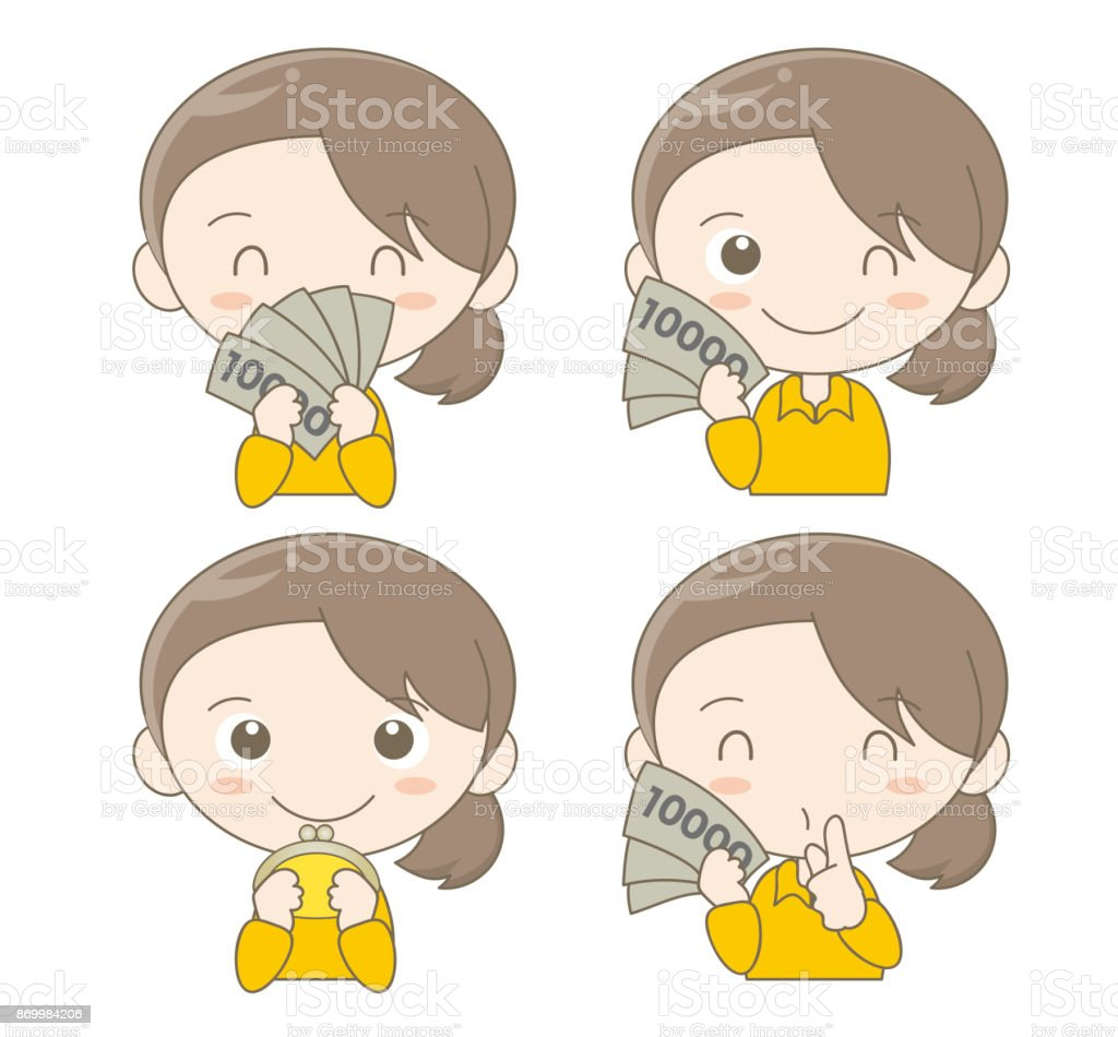 Money and female facial expression set vector art illustration