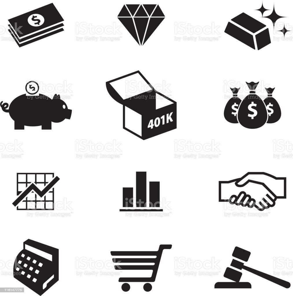 money and finance black & white vector icon set vector art illustration