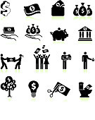 money and finance black & white vector icon set