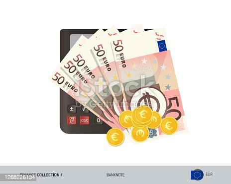 istock Money and finance. Calculator with 50 Euro banknotes and gold coins . Flat style vector illustration. 1268226134