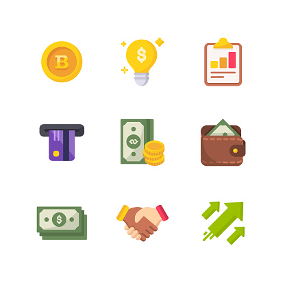 Money and Finance Flat Vector Icons. Pixel Perfect. For Mobile and Web.