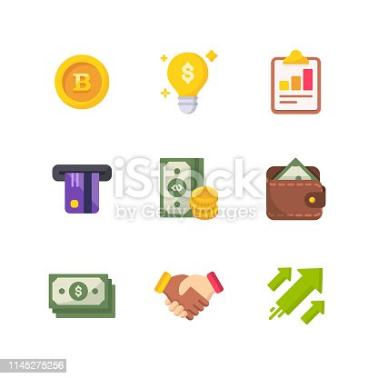 9 Money and Finance Flat Vector Icons.