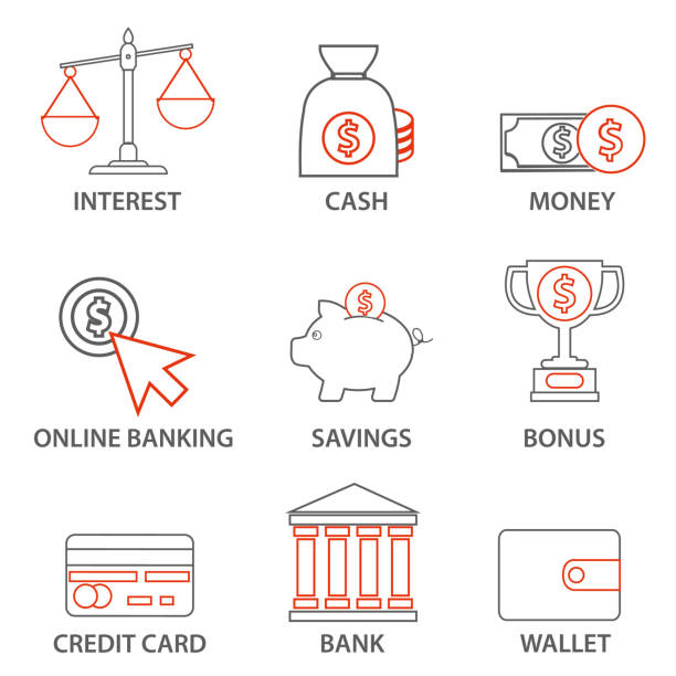 illustrazioni stock, clip art, cartoni animati e icone di tendenza di money and finance icons. mono line pictograms and infographics design elements - appalti pubblici