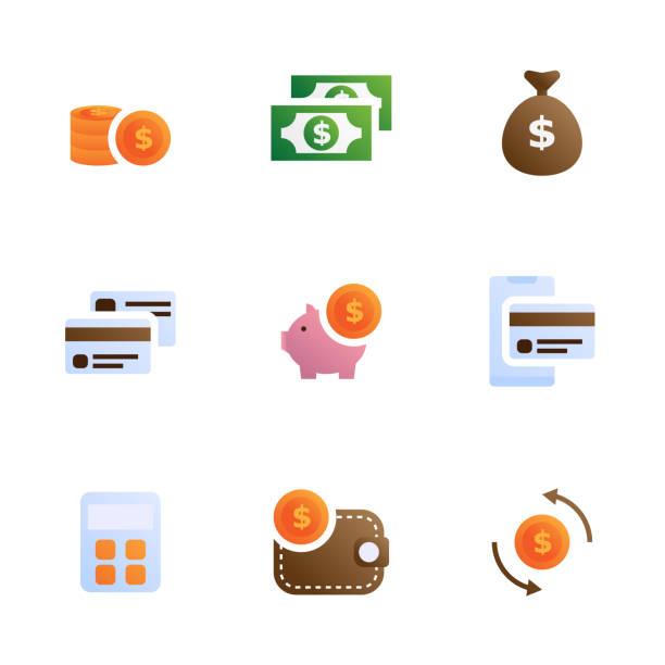 ilustraciones, imágenes clip art, dibujos animados e iconos de stock de dinero y los iconos financieros establecidos - gerente de cuentas