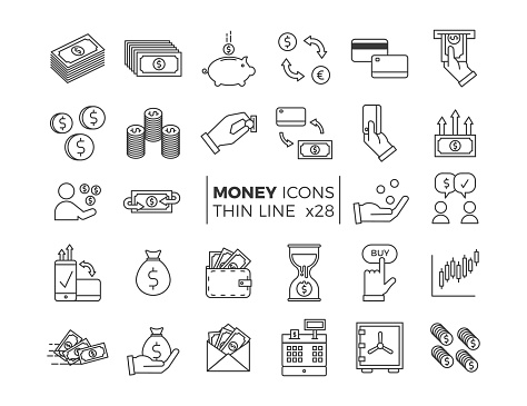 Money And Finance Icons Vector Thin Line Pictograms Of