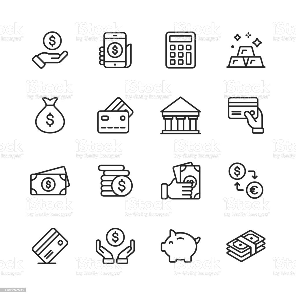 Money and Finance Line Icons. Editable Stroke. Pixel Perfect. For Mobile and Web. Contains such icons as Money, Wallet, Currency Exchange, Banking, Finance. 16 Money and Finance Outline Icons. ATM stock vector
