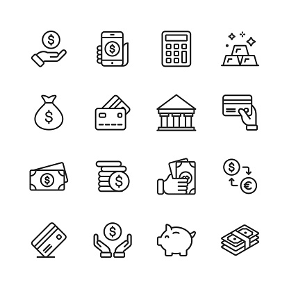Money And Finance Line Icons Editable Stroke Pixel Perfect For Mobile And Web Contains Such Icons As Money Wallet Currency Exchange Banking Finance - Arte vetorial de stock e mais imagens de Apoio