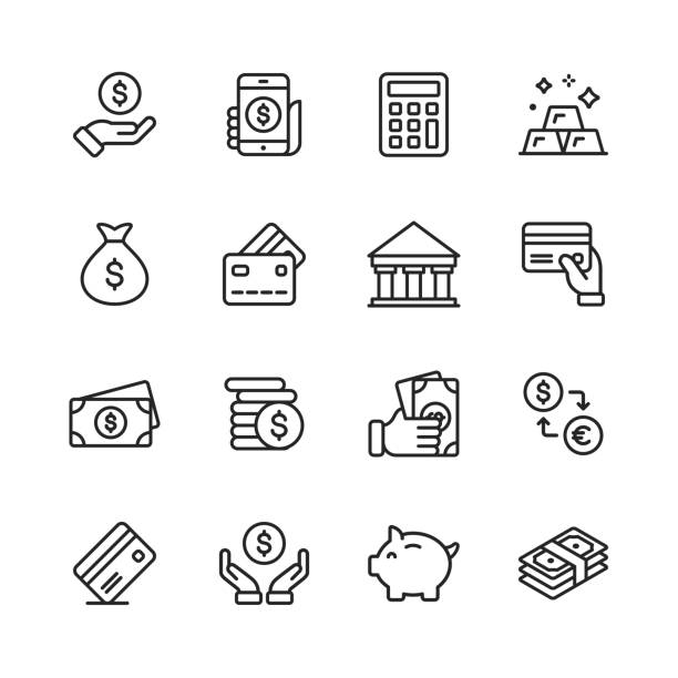 money and finance line icons. editable stroke. pixel perfect. for mobile and web. contains such icons as money, wallet, currency exchange, banking, finance. - płacić stock illustrations