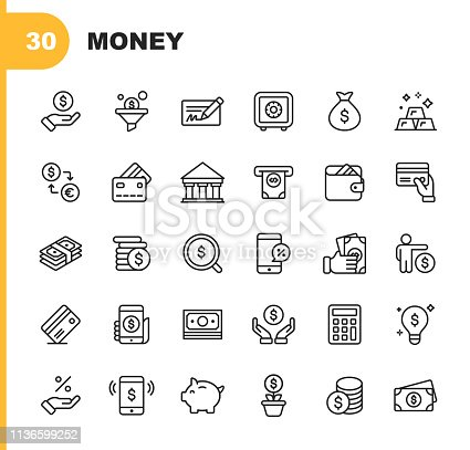 30 Money and Finance Line Icons.