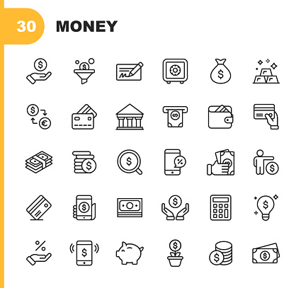 Money and Finance Line Icons. Editable Stroke. Pixel Perfect. For Mobile and Web. Contains such icons as Banking, Piggy Bank, Payment, Credit Card, Mobile Discount.