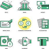 Money and finance vector icons set