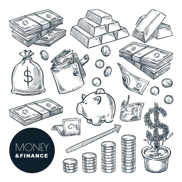 Money and finance vector sketch icons. Bank, payment, investment and commerce hand drawn isolated design elements Money and finance vector sketch icons. Bank, payment, investment and commerce hand drawn isolated design elements. banking drawings stock illustrations