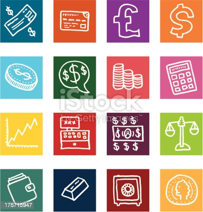 Money and financial flat block icon set
