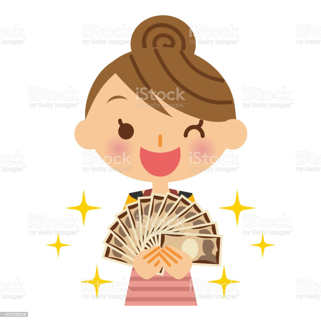 Money and housewife. vector art illustration